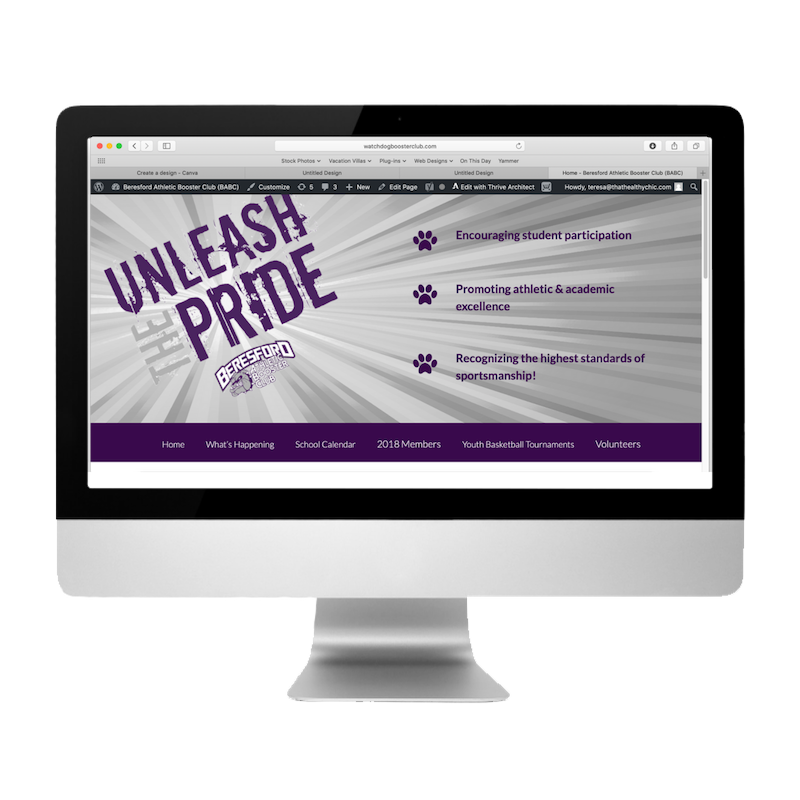 Watchdog Booster Club Website created by Web Designs by Teresa