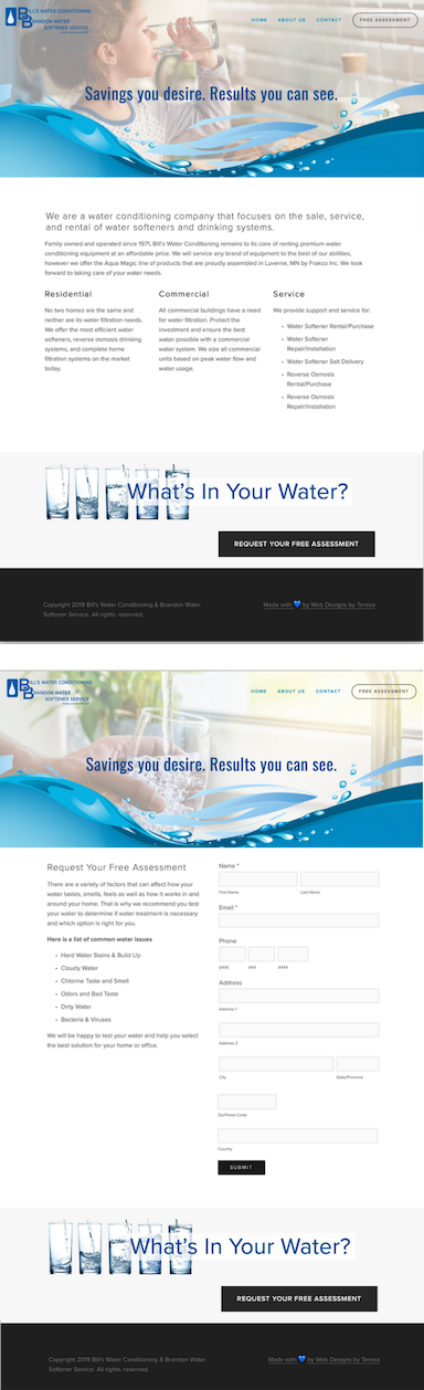 Created by Web Designs by Teresa ~ Bill's Water Conditioning & Brandon Water Softener