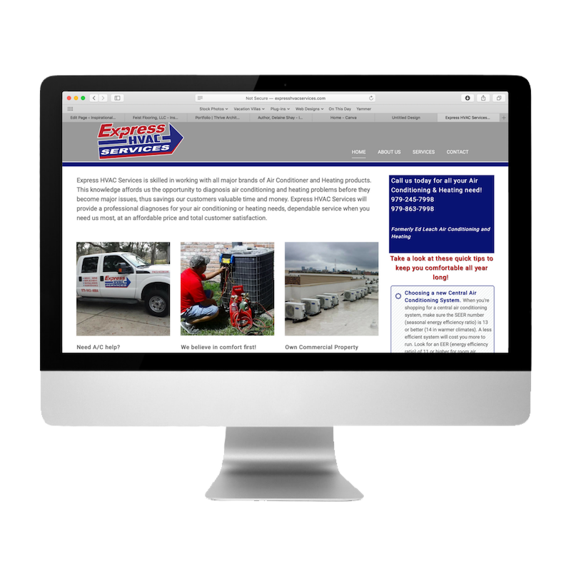 Express HVAC Services Website Created by Web Designs by Teresa