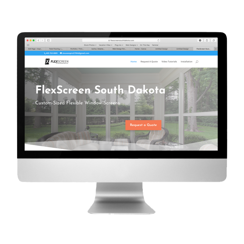 FlexScreen South Dakota Website Created by Web Designs by Teresa