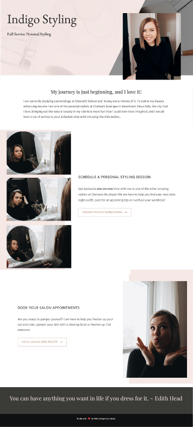 Tianna Schlup ~ Indigo Styling Website Created by Web Designs by Teresa